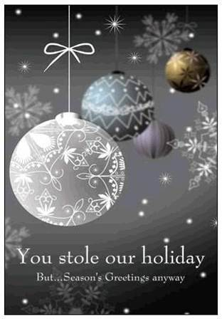 Christmas card image with you stole our holiday message